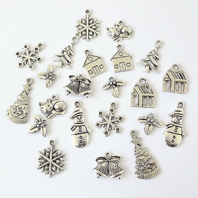 50 Antique Silver Colour Christmas Charms